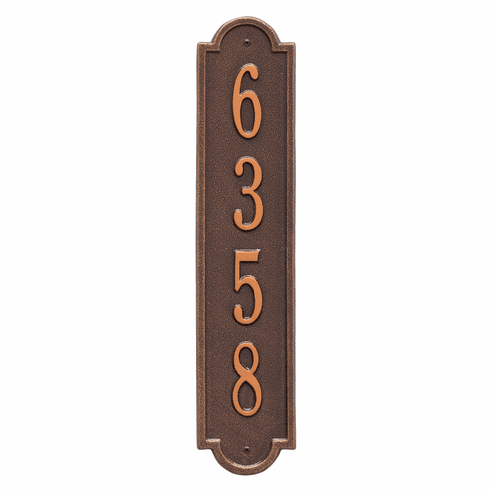 Richmond Vertical Standard Wall One Line Plaque in Antique Copper