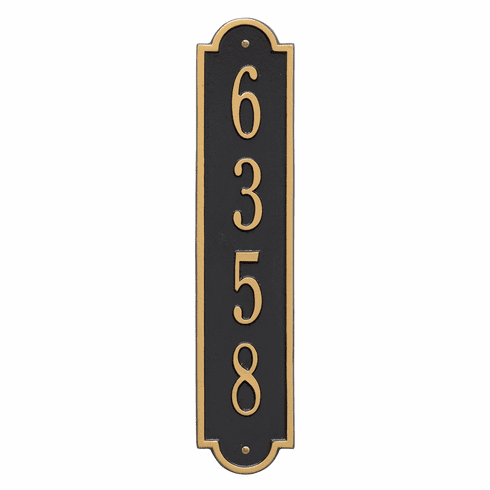 Richmond Vertical Standard Wall One Line Plaque in Black and Gold