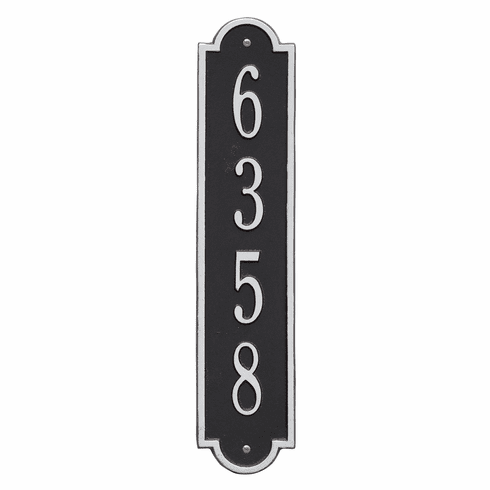 Richmond Vertical Standard Wall One Line Plaque in Black and Silver