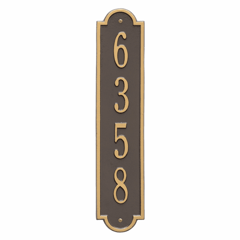 Richmond Vertical Standard Wall One Line Plaque in Bronze and Gold