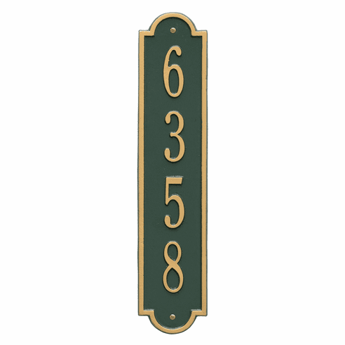 Richmond Vertical Standard Wall One Line Plaque in Green and Gold