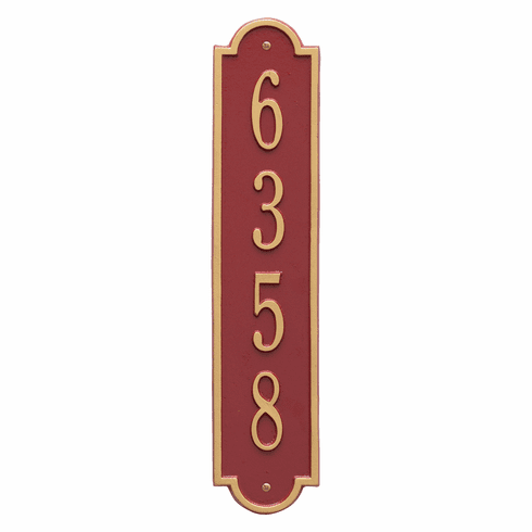 Richmond Vertical Standard Wall One Line Plaque in Red and Gold