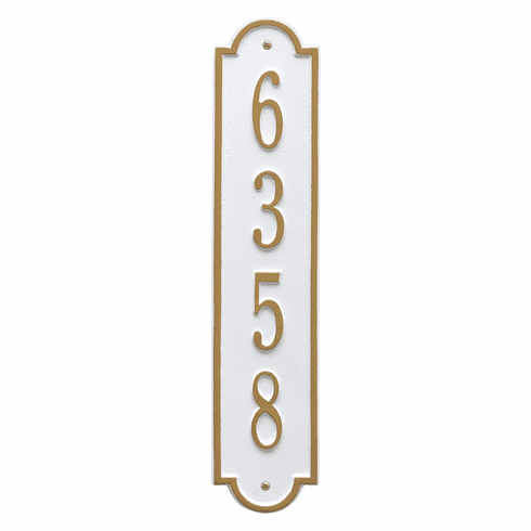 Richmond Vertical Standard Wall One Line Plaque in White and Gold