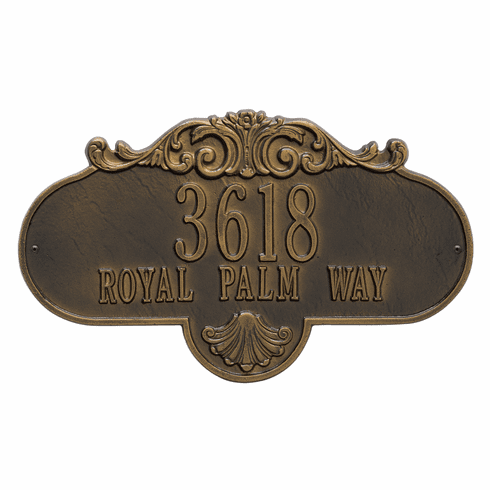 Rochelle Grande Wall Two Line Plaque in Antique Brass