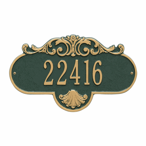 Rochelle Standard Wall One Line Plaque in Green and Gold