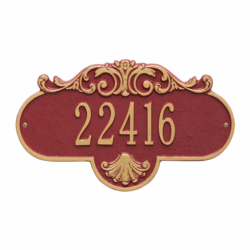 Rochelle Standard Wall One Line Plaque in Red and Gold