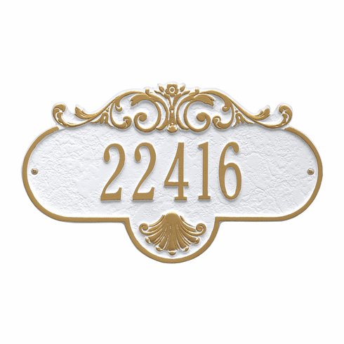 Rochelle Standard Wall One Line Plaque in White and Gold