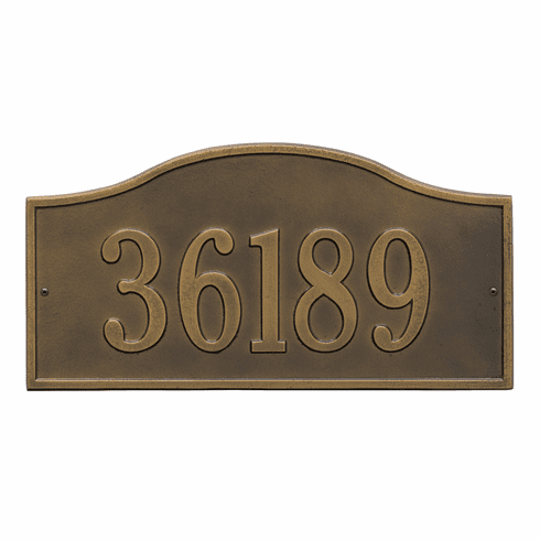 Rolling Hills Grand Wall One Line Plaque in Antique Brass