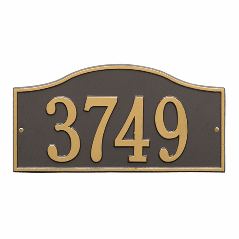 Rolling Hills Standard Wall One Line Plaque in Bronze and Gold