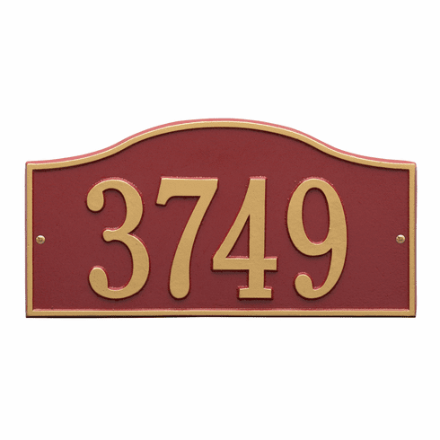 Rolling Hills Standard Wall One Line Plaque in Red and Gold