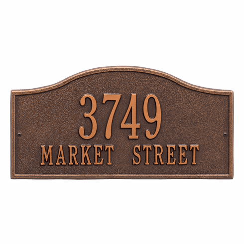 Rolling Hills Standard Wall Two Line Plaque in Antique Copper