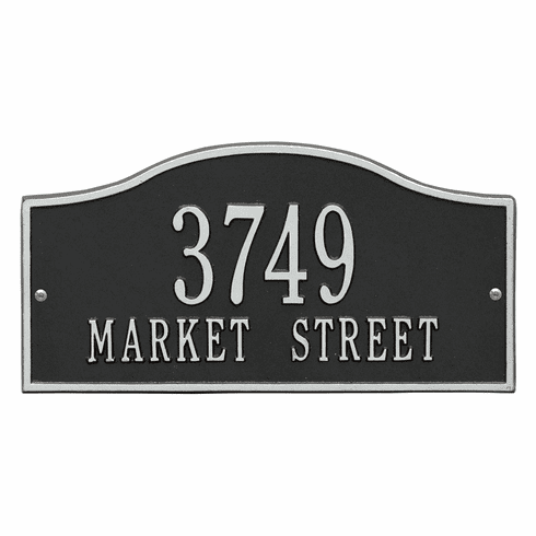 Rolling Hills Standard Wall Two Line Plaque in Black and Silver
