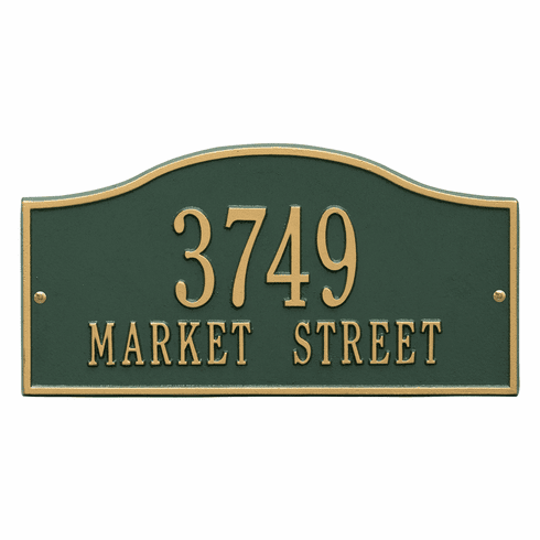 Rolling Hills Standard Wall Two Line Plaque in Green and Gold
