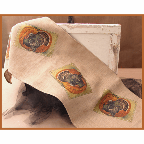 Rooster and Pumpkin Thanksgiving Throw, 20in x 52in