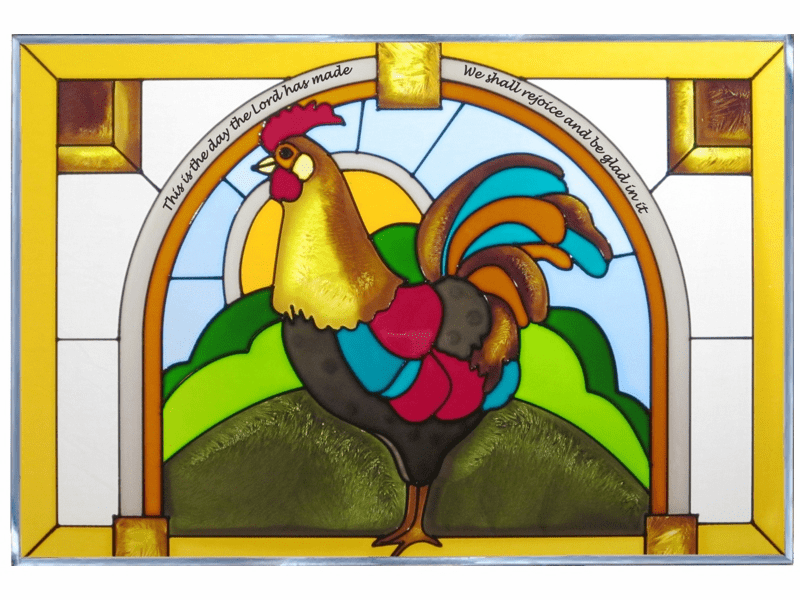 Rooster At Sunrise Stained Glass Art Glass