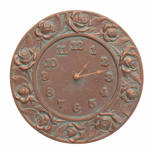 Rose 12 inches Indoor Outdoor Wall Clock - Copper Verdigris