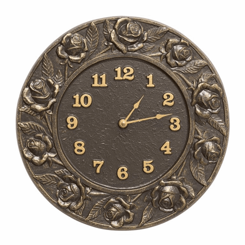 Rose 12 inches Indoor Outdoor Wall Clock - French Bronze
