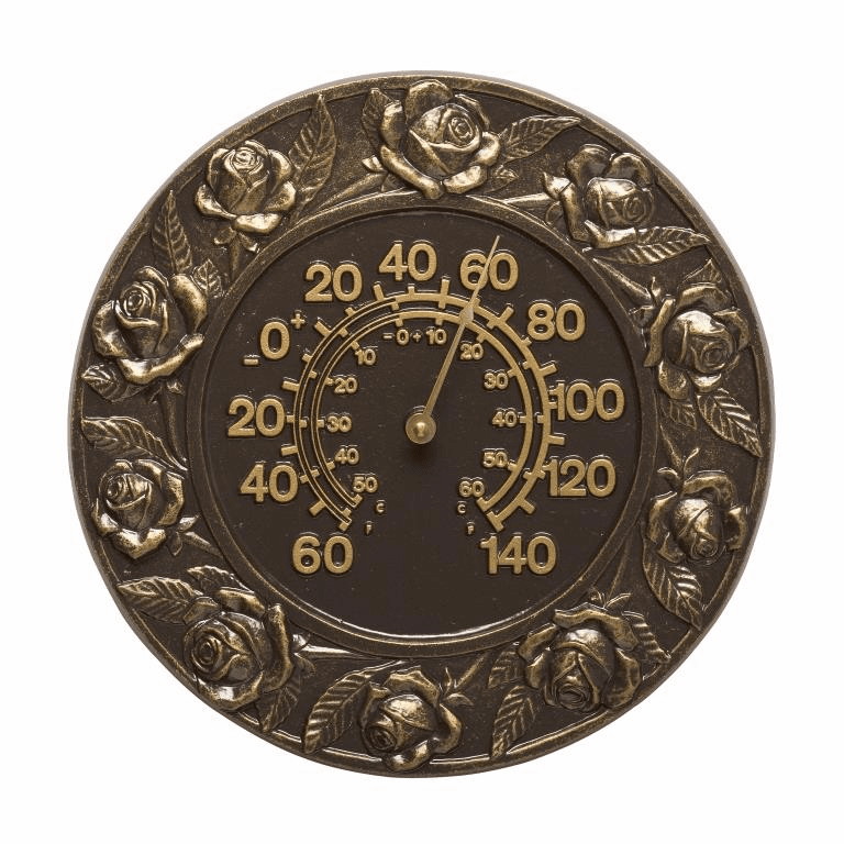 Rose 12 inches Indoor Outdoor Wall Thermometer - French Bronze