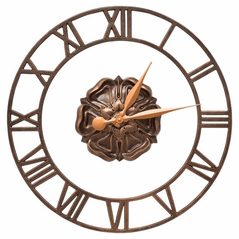 Rosette Floating Ring 21 inches Indoor Outdoor Wall Clock - Antique Copper