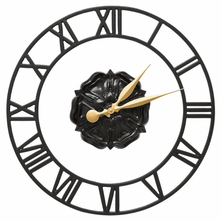 Rosette Floating Ring 21 inches Indoor Outdoor Wall Clock - Black
