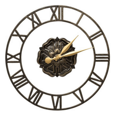 Rosette Floating Ring 21 inches Indoor Outdoor Wall Clock - Black and Gold