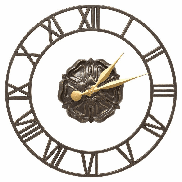 Rosette Floating Ring 21 inches Indoor Outdoor Wall Clock - French Bronze