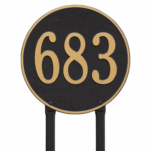 Round 15 inches Diameter Lawn One Line Plaque in Black and Gold