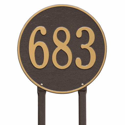 Round 15 inches Diameter Lawn One Line Plaque in Bronze and Gold