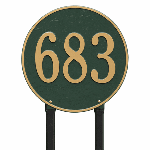 Round 15 inches Diameter Lawn One Line Plaque in Green and Gold