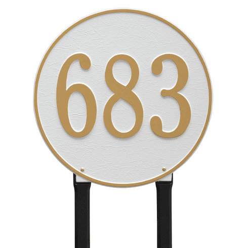 Round 15 inches Diameter Lawn One Line Plaque in White and Gold