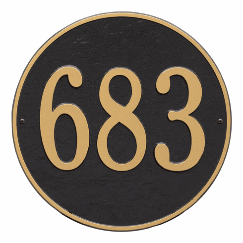 Round 15 inches Diameter Wall One Line Plaque in Black and Gold