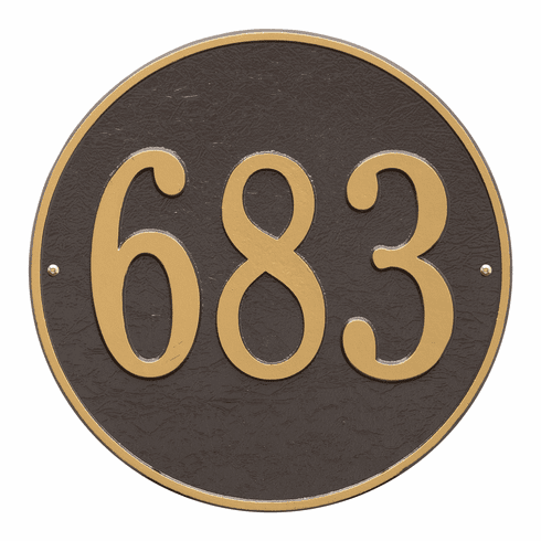 Round 15 inches Diameter Wall One Line Plaque in Bronze and Gold
