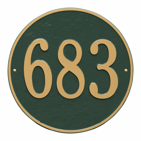 Round 15 inches Diameter Wall One Line Plaque in Green and Gold