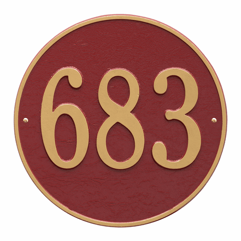 Round 15 inches Diameter Wall One Line Plaque in Red and Gold