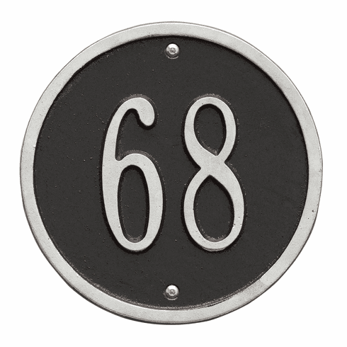 Round 6 inches Diameter Wall One Line Plaque in Black and Silver