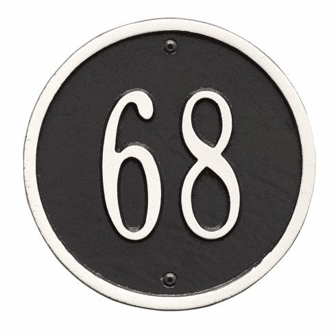 Round 6 inches Diameter Wall One Line Plaque in Black and White