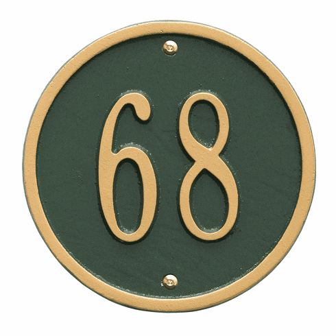 Round 6 inches Diameter Wall One Line Plaque in Green and Gold