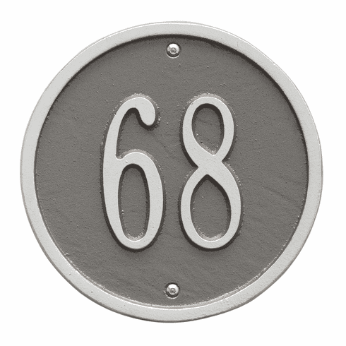 Round 6 inches Diameter Wall One Line Plaque in Pewter and Silver