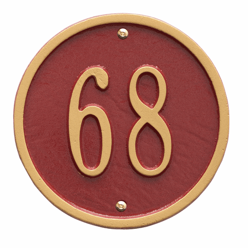 Round 6 inches Diameter Wall One Line Plaque in Red and Gold