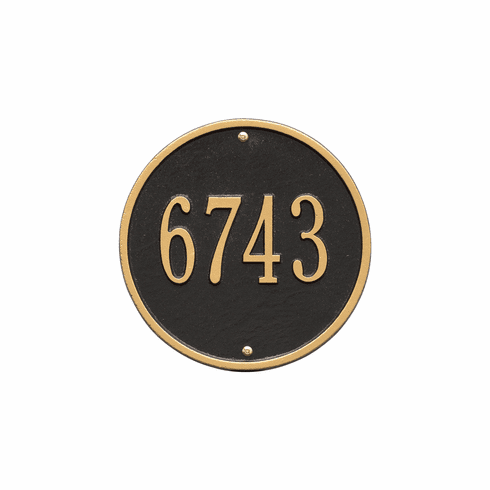 Round 9 inches Diameter Wall One Line Plaque in Black and Gold