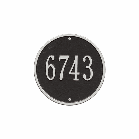 Round 9 inches Diameter Wall One Line Plaque in Black and Silver