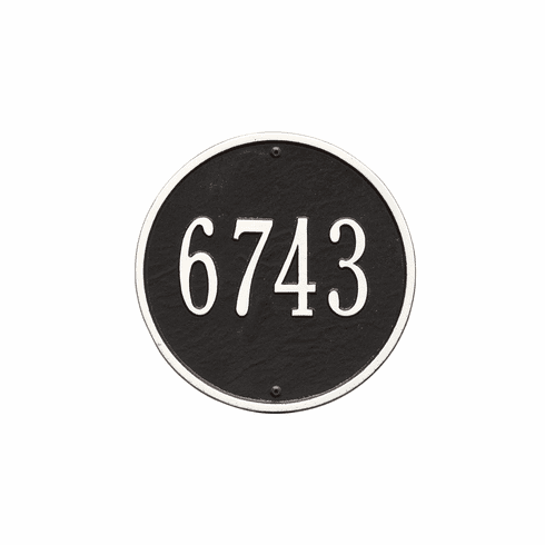 Round 9 inches Diameter Wall One Line Plaque in Black and White