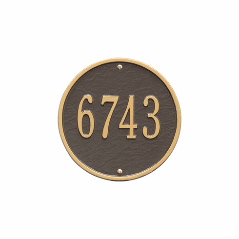 Round 9 inches Diameter Wall One Line Plaque in Bronze and Gold