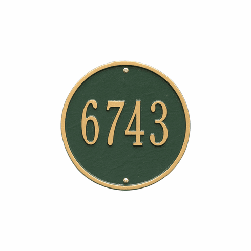 Round 9 inches Diameter Wall One Line Plaque in Green and Gold