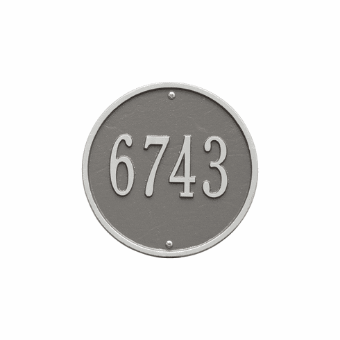 Round 9 inches Diameter Wall One Line Plaque in Pewter and Silver