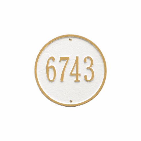 Round 9 inches Diameter Wall One Line Plaque in White and Gold