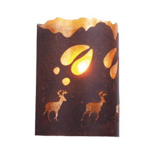 Rustic Lodge - A Deer was Here - Timber Ridge Wall Sconce