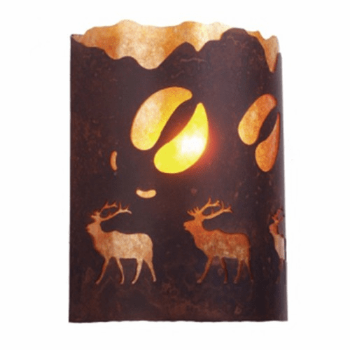 Rustic Lodge - A Elk was Here - Timber Ridge Wall Sconce
