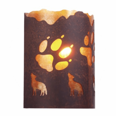 Rustic Lodge - A Wolf was Here - Timber Ridge Wall Sconce