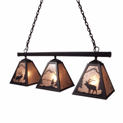 Rustic Lodge Anacosti Elk Triple Pendant Light